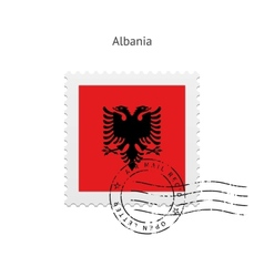Albania flag postage stamp vector