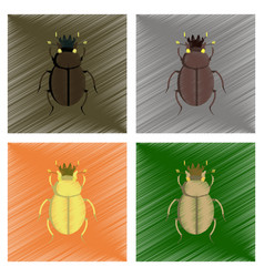 Assembly flat shading style bug scarab vector