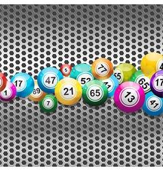 Bingo balls on silver metallic mesh vector