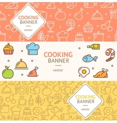 Cooking Banner Flyer Horizontal Set vector image vector image