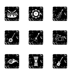 Device for music icons set grunge style vector