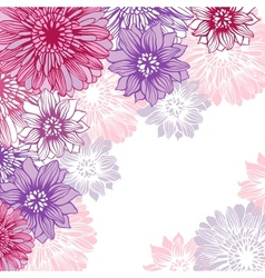 Floral background with hand draun flowers vector image vector image