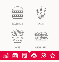 Hamburger carrot and chips icons vector