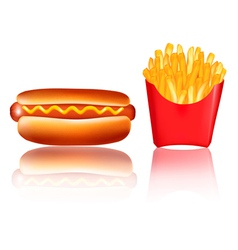hotdog and fries vector image vector image