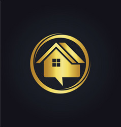 House sale communication gold logo vector