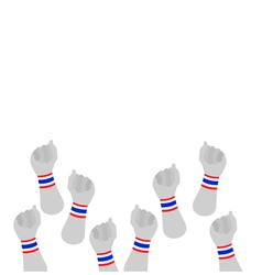 Human hands clenched fist with thai wristband vector