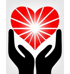 Image of the hands holding red heart vector image