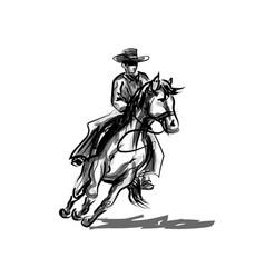 Ink sketch a cowboy on a horse vector