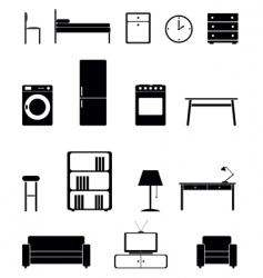 Interior icon set vector