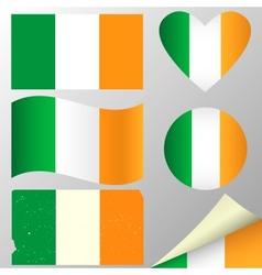 Ireland flags set vector