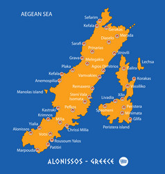 Island of alonissos in greece orange map and blue vector