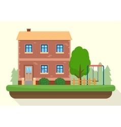 Kindergarten building with kids playground vector image