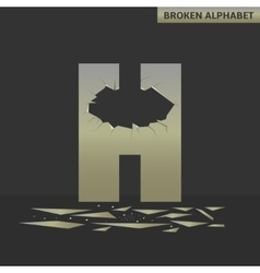 Letter h broken mirror vector