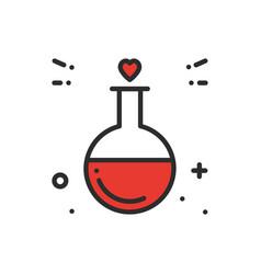 Love chemistry line icon test tube love fluid vector