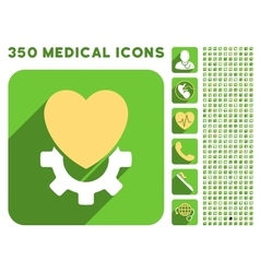 Mechanical heart icon and medical longshadow icon vector