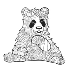 monochrome hand drawn zentagle of panda bear vector image