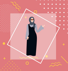 muslim woman girl standing wearing veil head scarf vector image