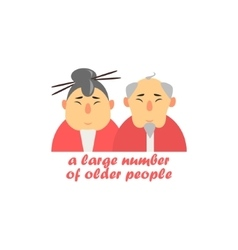 Old couple cartoon style icon vector