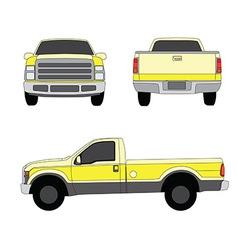 Pick-up truck yellow three sides view vector image vector image