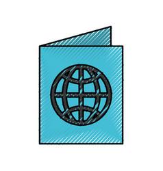 Scribble passport cartoon vector