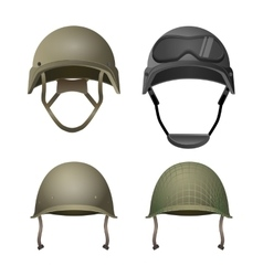 Set of military helmets classical with goggles vector