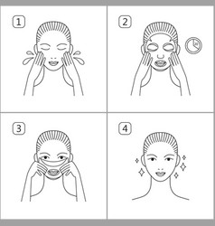 steps how to apply facial mask isolated vector image