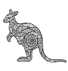 Stylized kangaroo zentangle vector
