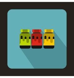 Three plastic jars with colored gouache icon vector