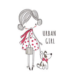 Urban girl with dog for clothing vector