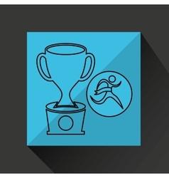 Winner silhouette sport trophy icon vector