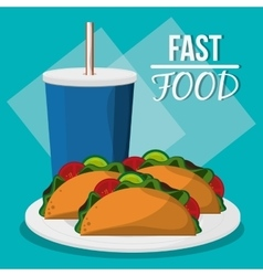 Soda taco and fast food design vector
