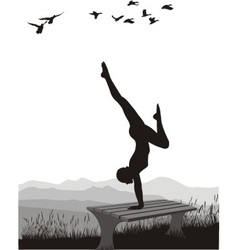 Gymnast on a bench in nature vector