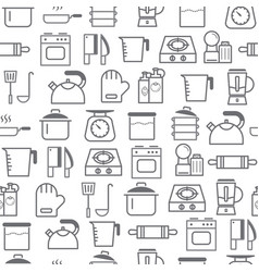 Line style icons seamless pattern kitchen vector