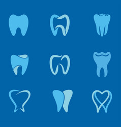 Teeth blue logo vector