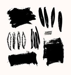 Ink brush strokes set vector