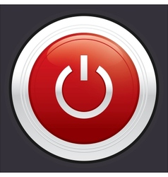Power button red round sticker vector