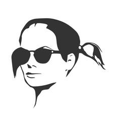 Portrait of beautiful woman in black sunglasses vector