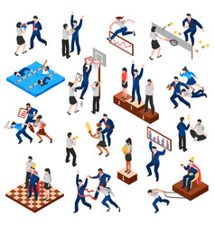 Competitions of business characters isometric set vector