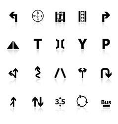 Traffic sign icons with reflect on white vector