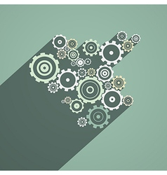 Abstract Paper Cogs Gears on Retro Background vector image