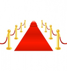 red carpet and velvet rope vector image