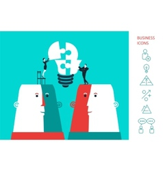 Businessman and business woman completing a bulb vector
