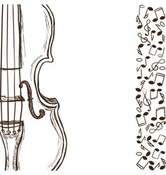 Violin or bass and music notes vector