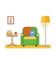 Room interior with armchair table and lamp vector