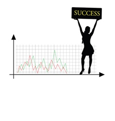 Success girl silhouette vector
