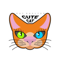 Cute cat logo for cat shelter emblem pet vector