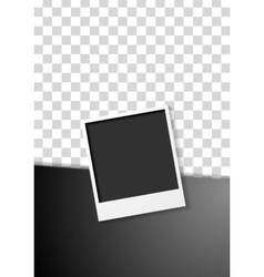 Black flyer design with polaroid photo frame vector image