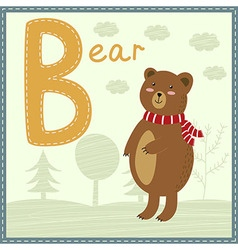 Cute zoo alphabet - letter b with cartoon bear vector