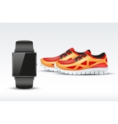 Sport digital smart watch and sneakers vector