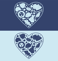 Marine objects in the shape of a heart vector